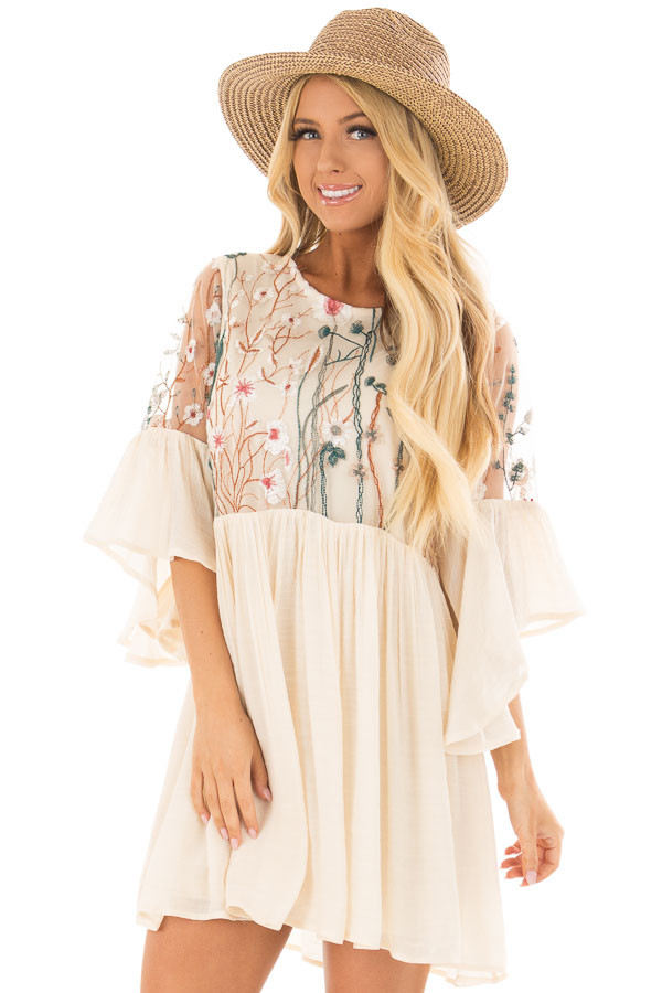 Cream Embroidered Flowy Bell Sleeve Dress front closeup