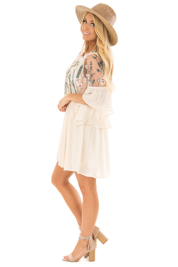 Cream Embroidered Flowy Bell Sleeve Dress side full body