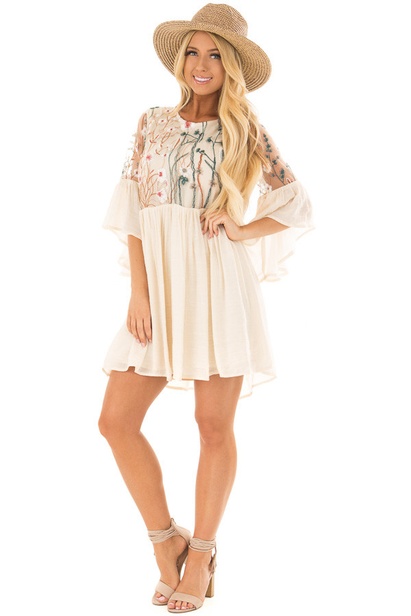 Cream Embroidered Flowy Bell Sleeve Dress front full body