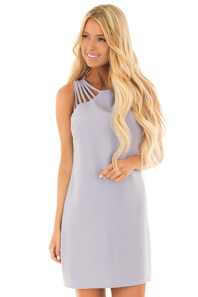 Misty Blue Multi Spaghetti Strap Dress front close up