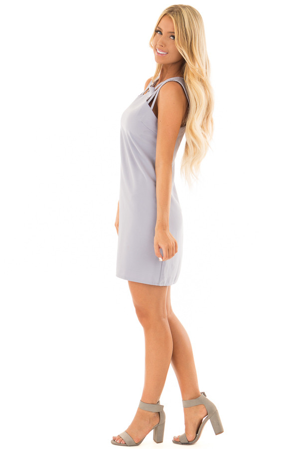 Misty Blue Multi Spaghetti Strap Dress side full body