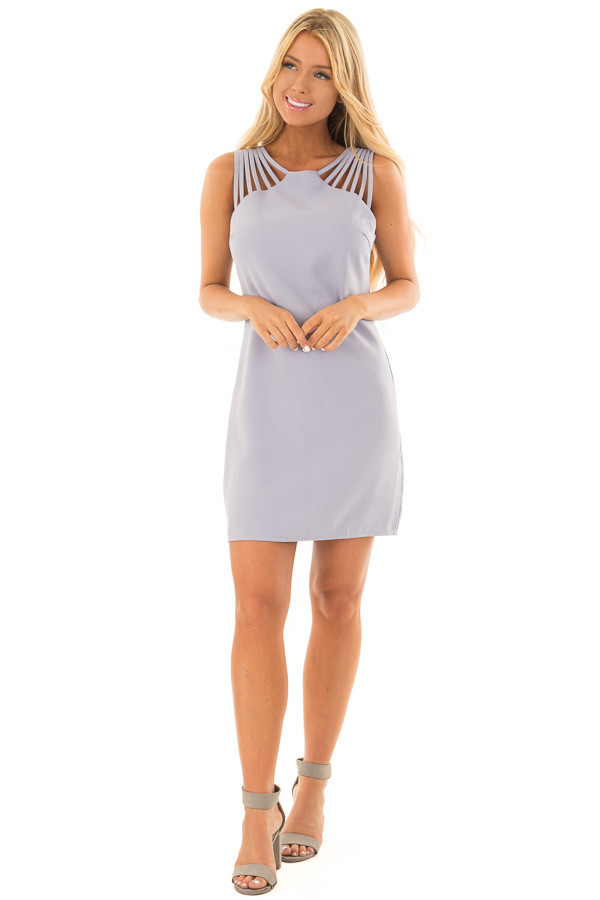 Misty Blue Multi Spaghetti Strap Dress front full body