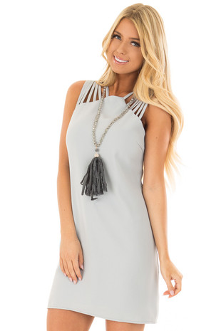 Blue Sage Multi Spaghetti Strap Dress front closeup