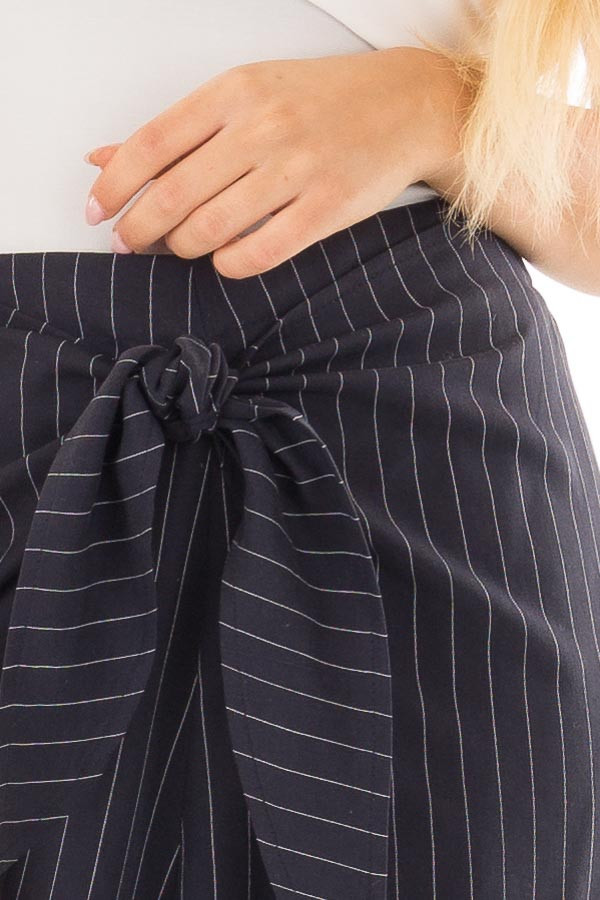 Navy Pinstripe Open Side Pants with Waist Tie Detail front detail