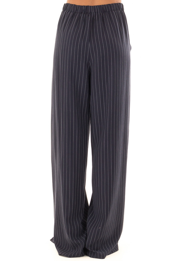 Navy Pinstripe Open Side Pants with Waist Tie Detail back