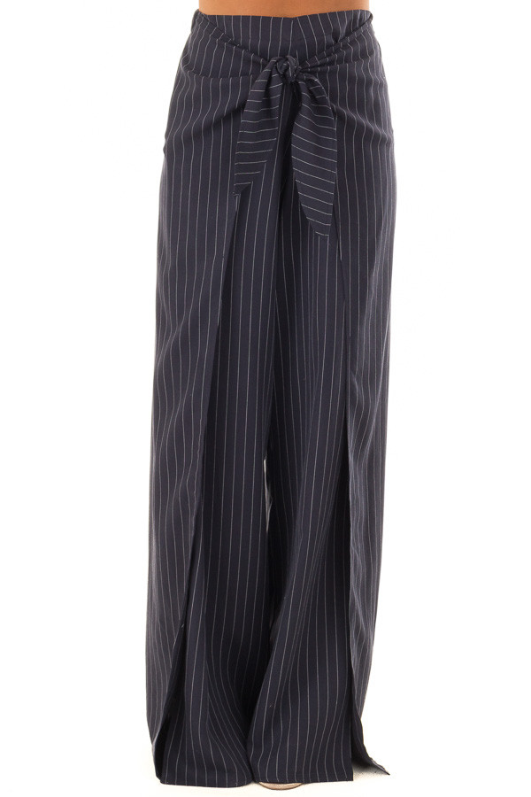 Navy Pinstripe Open Side Pants with Waist Tie Detail front