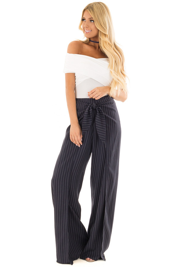 Navy Pinstripe Open Side Pants with Waist Tie Detail front full body