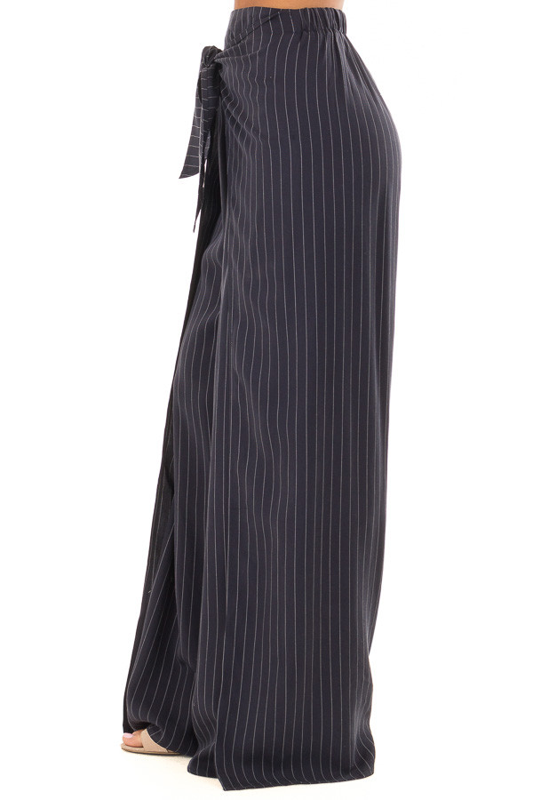 Navy Pinstripe Open Side Pants with Waist Tie Detail right side