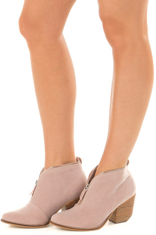 Mauve Faux Suede Booties with Zipper Detail front side