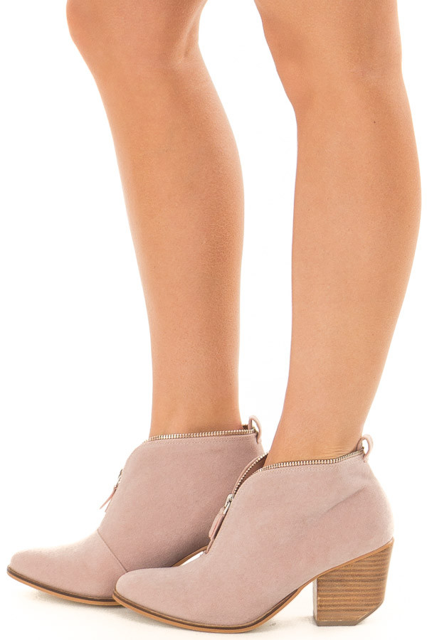 Mauve Faux Suede Booties with Zipper Detail side