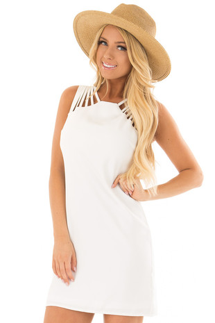 White Multi Spaghetti Strap Dress front close up