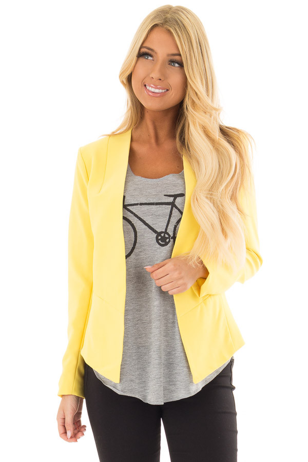 Bright Yellow Long Sleeve Blazer front close up