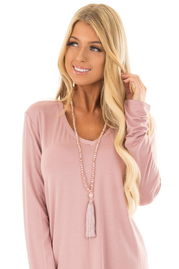 Blush Beaded Necklace with Blush Tassel