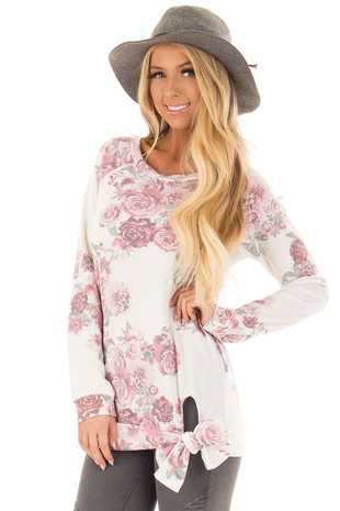 Ivory and Rose Floral Print Top with Front Tie Detail front closeup up