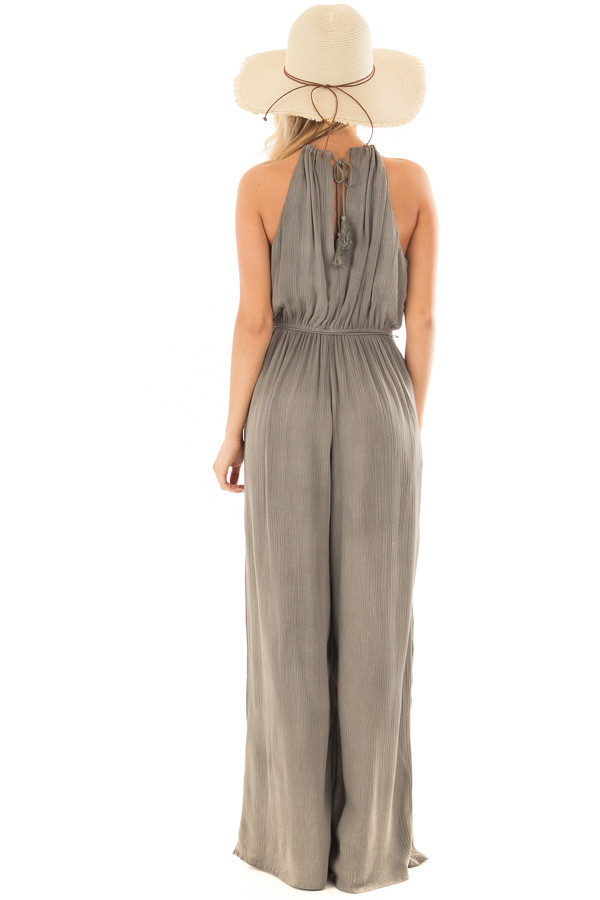 Stormy Grey Halter Jumpsuit with Waist Tie back full body