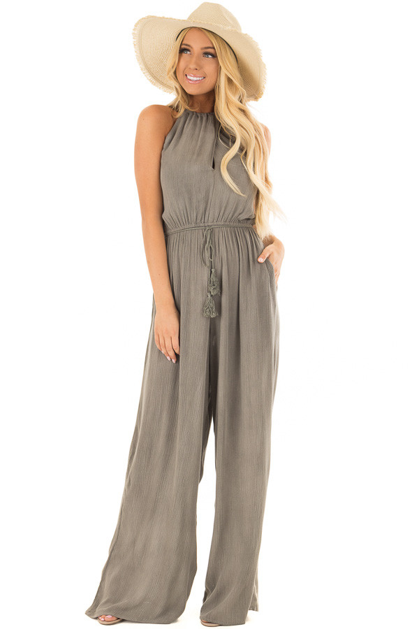 Stormy Grey Halter Jumpsuit with Waist Tie front close up