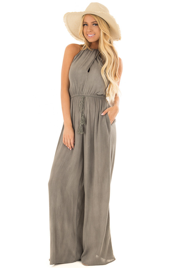 Stormy Grey Halter Jumpsuit with Waist Tie front full body