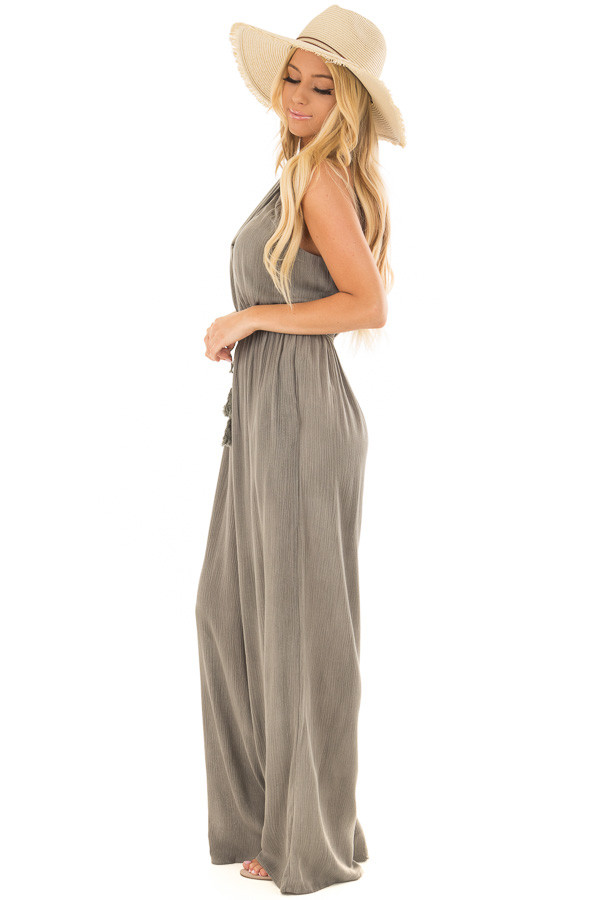 Stormy Grey Halter Jumpsuit with Waist Tie side full body