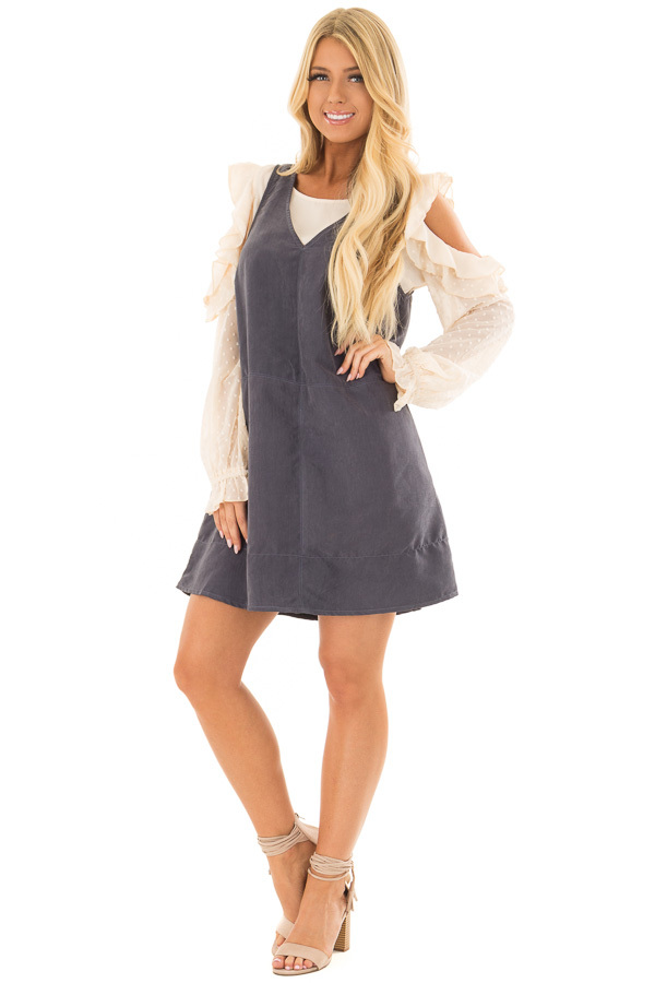 Slate Faux Suede Tank Top Dress with Pockets front full body