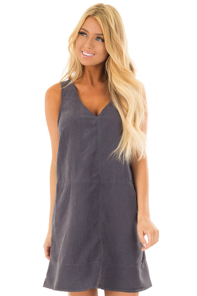 Slate Faux Suede Tank Top Dress with Pockets front close up