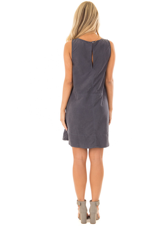 Slate Faux Suede Tank Top Dress with Pockets back full body