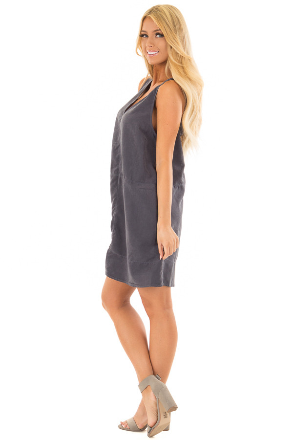 Slate Faux Suede Tank Top Dress with Pockets side full body