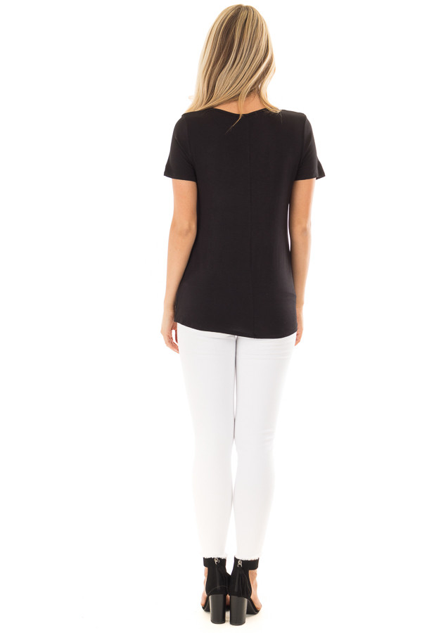 Black Short Sleeve Criss Cross Top with O Ring Detail back full body