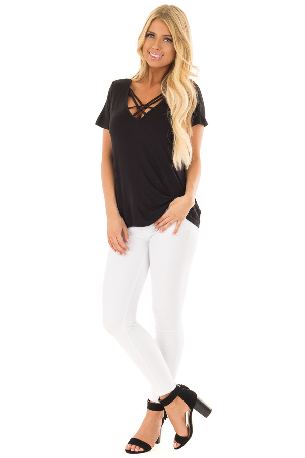 Black Short Sleeve Criss Cross Top with O Ring Detail front full body