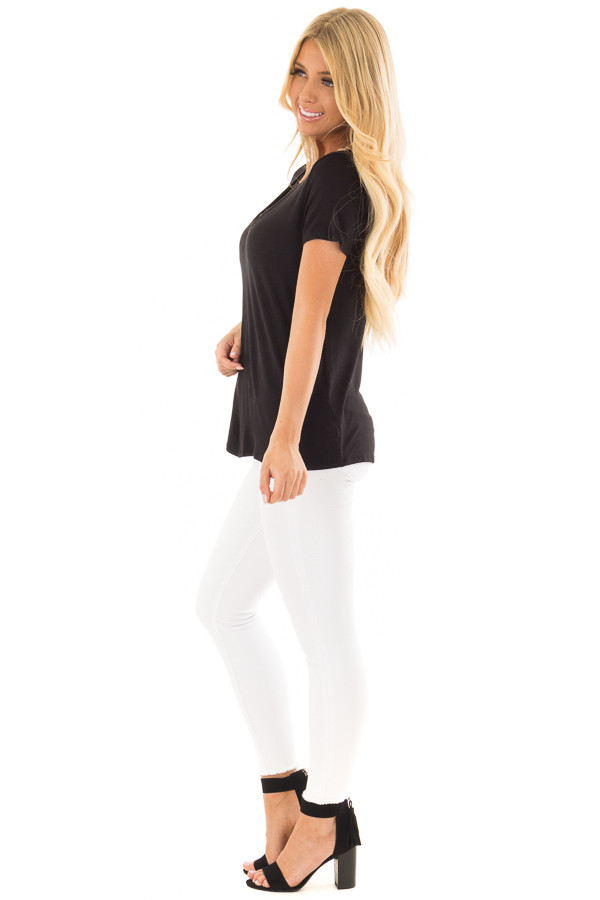 Black Short Sleeve Criss Cross Top with O Ring Detail side full body