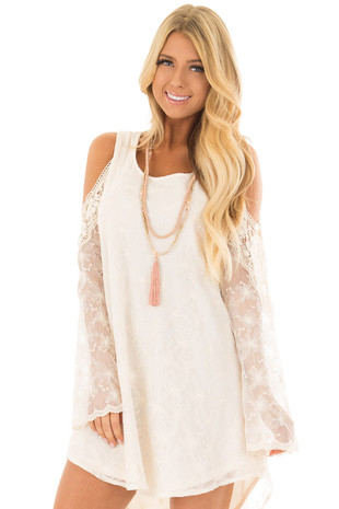 Ivory Cold Shoulder Lace Dress with Sheer Bell Sleeves front close up