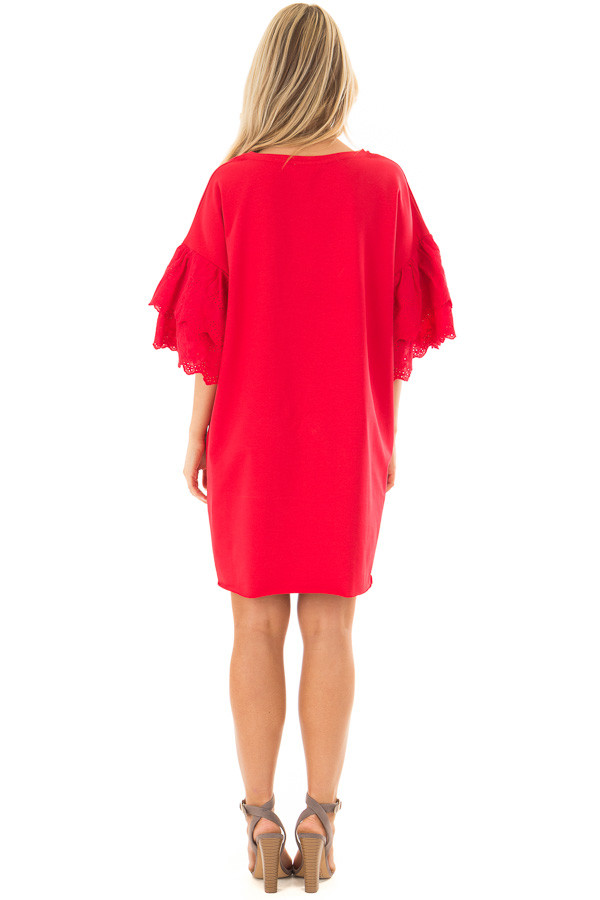 Lipstick Red Dress with Lace Tier Bell Sleeves back full body