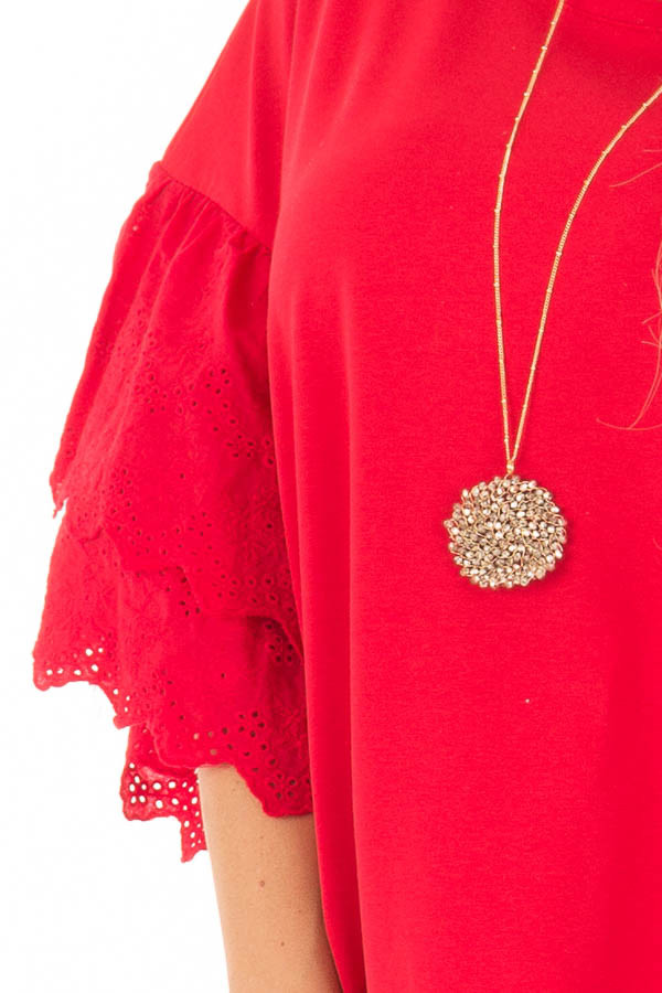 Lipstick Red Dress with Lace Tier Bell Sleeves detail