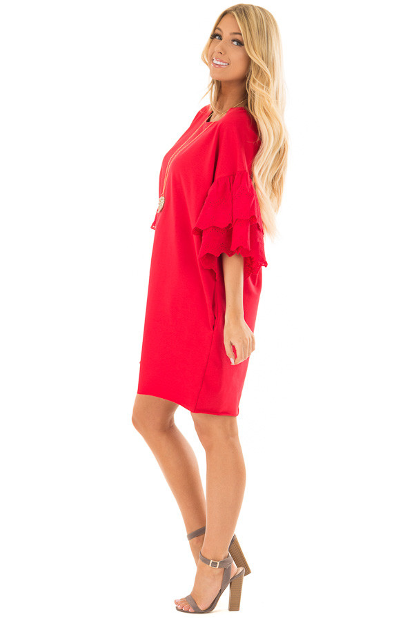 Lipstick Red Dress with Lace Tier Bell Sleeves side full body