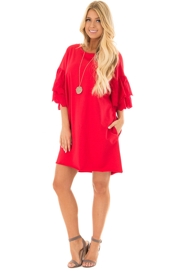 Lipstick Red Dress with Lace Tier Bell Sleeves front full body