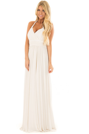 Ivory Halter Maxi Dress front close up