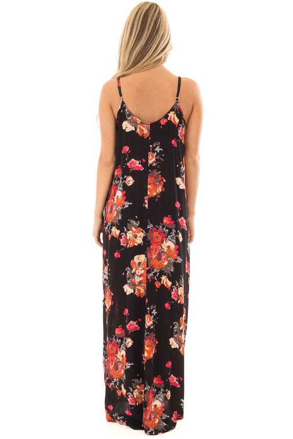 Black Floral Print Cocoon Maxi Dress with Side Pockets back full body