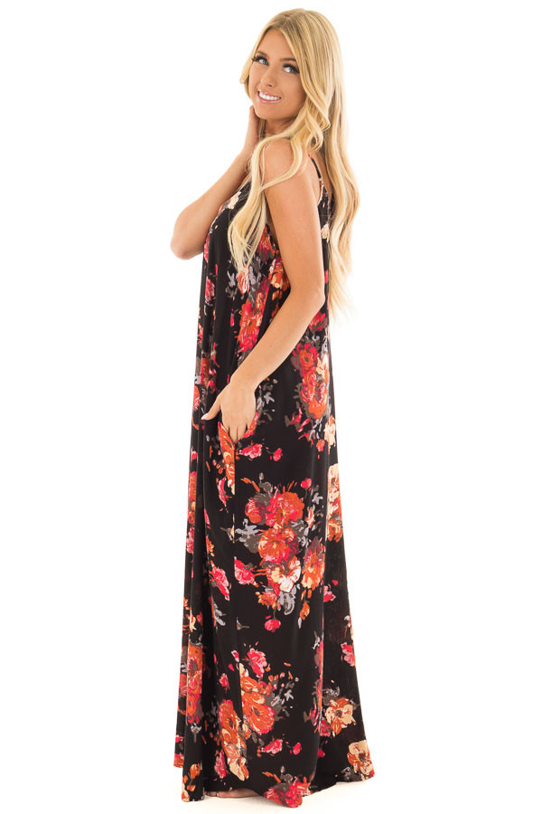 Black Floral Print Cocoon Maxi Dress with Side Pockets side full body