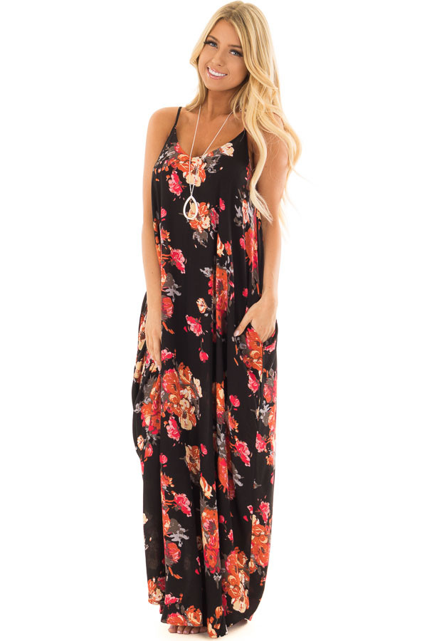 Black Floral Print Cocoon Maxi Dress with Side Pockets front full body