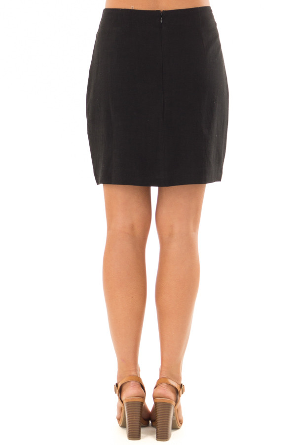 Black Mini Skirt with Colorful Detailed Embroidery back view