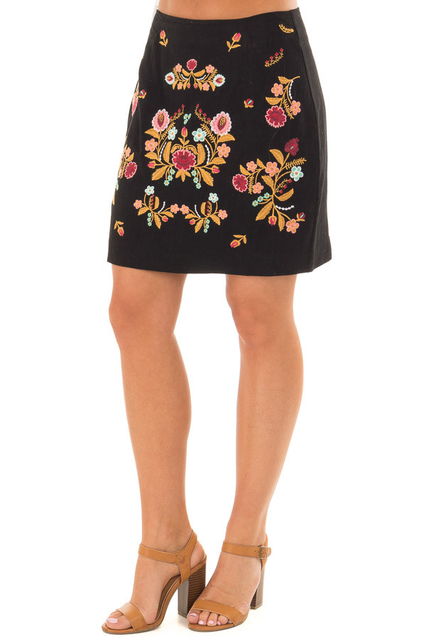 Black Mini Skirt with Colorful Detailed Embroidery front side view
