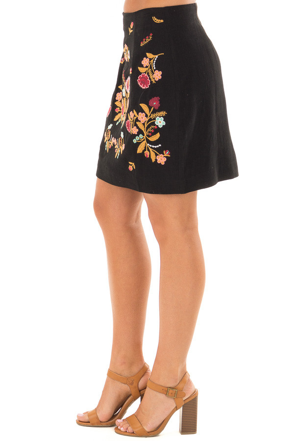Black Mini Skirt with Colorful Detailed Embroidery side view