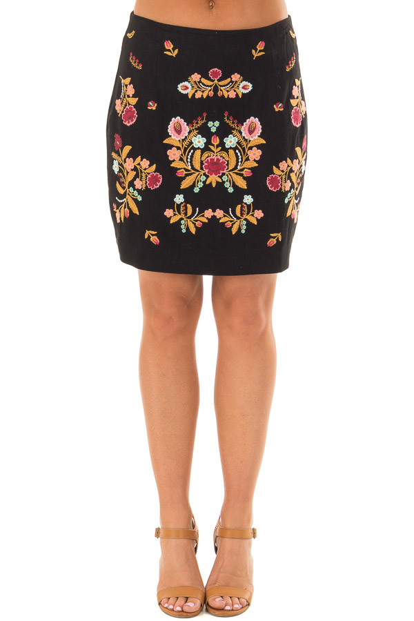 Black Mini Skirt with Colorful Detailed Embroidery front view