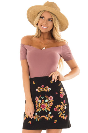 Black Mini Skirt with Colorful Detailed Embroidery front close up