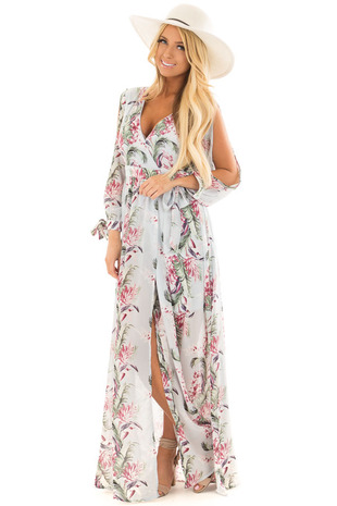 Powder Blue Floral Print Wrap Style Maxi Dress front full body
