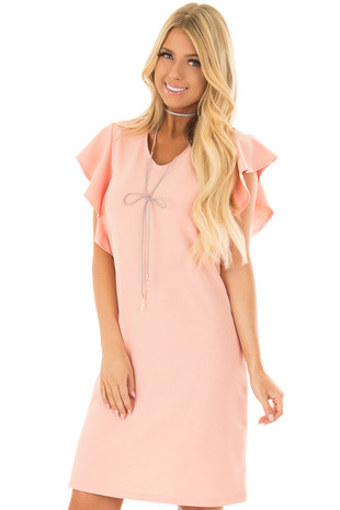 Peach Dress with Ruffle Sleeves and Keyhole Back front close up