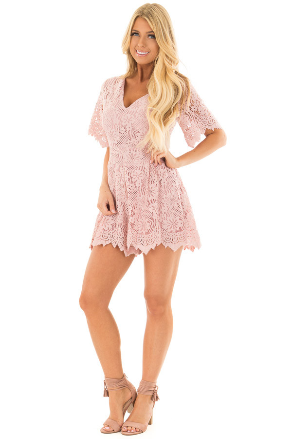 Dusty Pink Lace V Neck Romper front full body