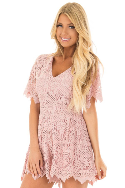 Dusty Pink Lace V Neck Romper front close up