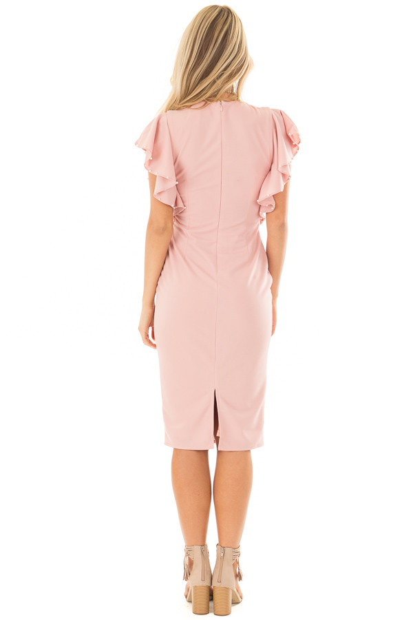 Light Pink Fitted Ruffle Dress with Pearl Detail back full body