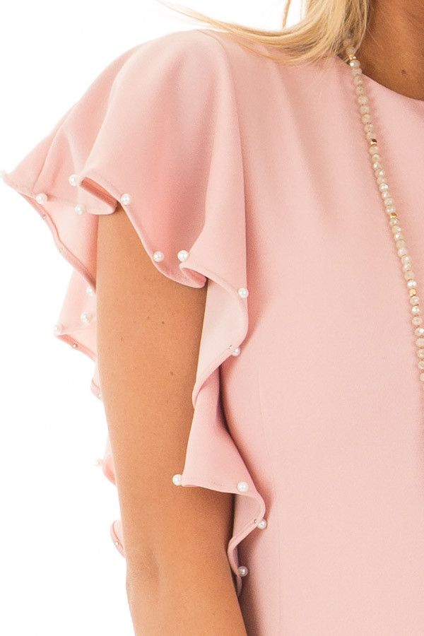 Light Pink Fitted Ruffle Dress with Pearl Detail detail