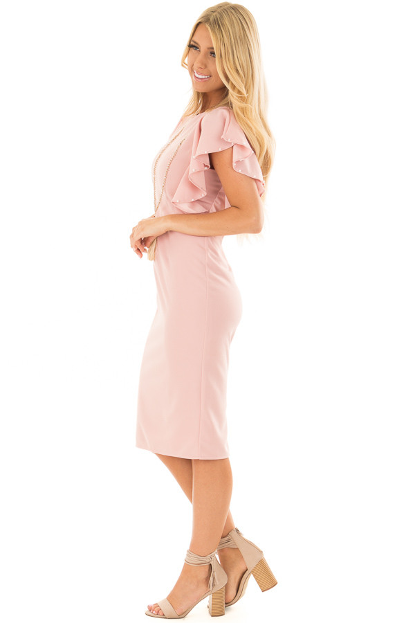 Light Pink Fitted Ruffle Dress with Pearl Detail side full body